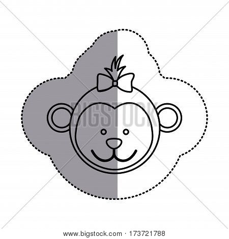 silhouette face bear bow head icon, vector illustration design image