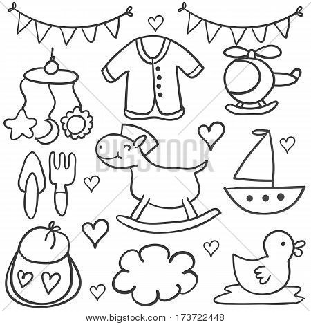 Doodle of baby element collection stock vector art