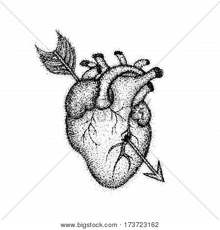 Dotwork Heart with Arrow. Vector Illustration of Boho Style T-shirt Design. Hipster Tattoo Hand Drawn Sketch.