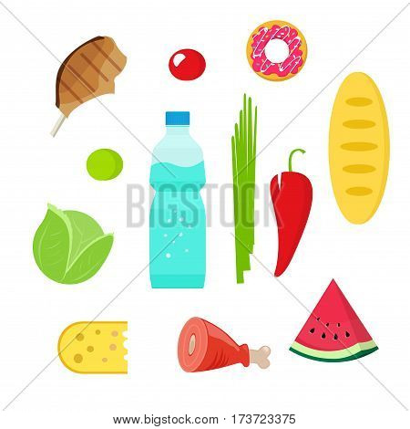 Fresh organic food objects vector illustration, flat style grocery meal icons, groceries products, water bottle drink, meat, cheese, watermelon slice, bread, donut isolated on white