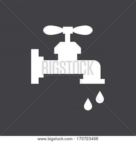 Water tap icon on the grey background. Vector illustration