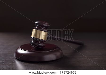 Close up of a judge gavel in a courtroom