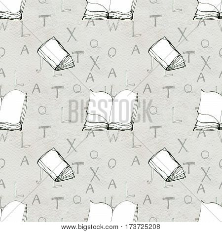 Seamless doodle pattern with books and letters. Library hand drawn sketchy background. Reading and education concept.