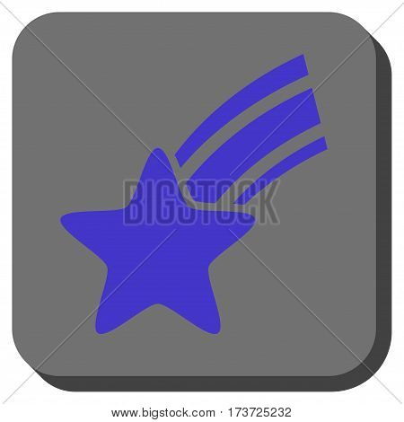 Falling Star toolbar icon. Vector pictograph style is a flat symbol centered in a rounded square button, violet and gray colors.