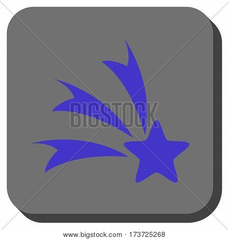 Falling Star rounded icon. Vector pictogram style is a flat symbol on a rounded square button, violet and gray colors.