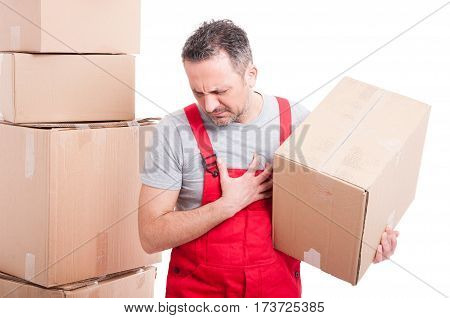 Mover Guy Holding Cardboard Box Making Heart Attack Gesture
