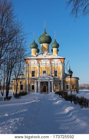 Transfiguration Cathedral of the Uglich Kremlin in a sunny winter day, Russia