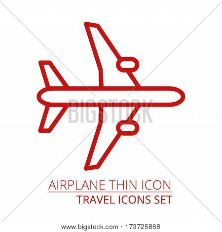 Airplane Thin Icon