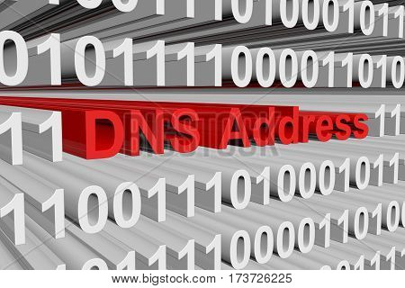 dns address is represented as a binary code 3d illustration