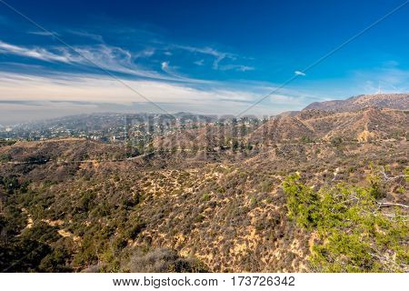 View of Griffith Park and Hollywood from Griffith Observatory, Los Angeles, California, USA.