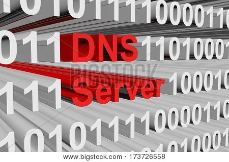dns server presented in the form of binary code 3d illustration