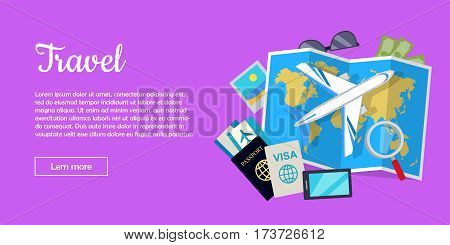 Travel web banner. Aircraft, suitcase with luggage, world map, air tickets, passport, visa, phone, money, sunglasses, magnifier flat vectors. For travel agency airline company landing page design