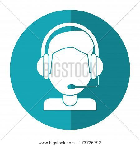 video gamer with headset shadow vector illustration eps 10
