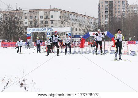 Kirishi, Russia - 11 February, People on the ski run, 11 February, 2017. Mass ski race Russian Ski Track.