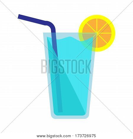 Blue cocktail icon. Blue cocktail in glass with slice of lemon and blue straw isolated on white background. Beach cocktail. Bar design element. Vector illustration in flat design.