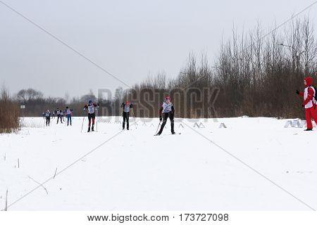 Kirishi, Russia - 11 February, Different people on skis, 11 February, 2017. Mass ski race Russian Ski Track.
