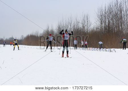 Kirishi, Russia - 11 February, Mass ski race, 11 February, 2017. Mass ski race Russian Ski Track.