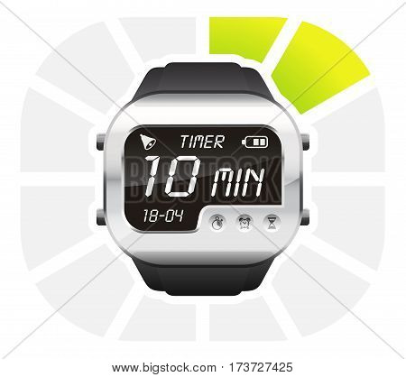 digital watch timer 10 minutes vector illustration isolated on white background
