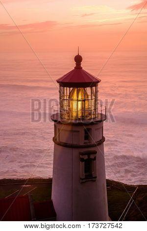 Heceta Head Lighthouse at sunset, Pacific coast, built in 1892, Oregon, USA