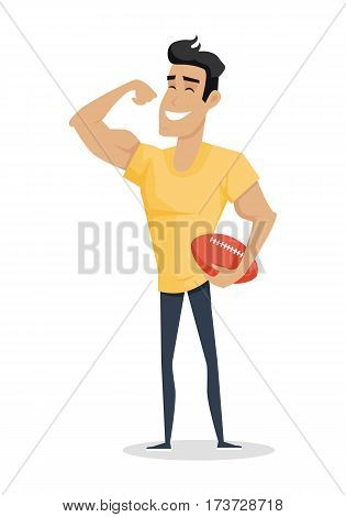 Young handsome man with ball show his biceps arm. Smiling muscular athlete in flat. Young man in front shows a trained biceps. Isolated vector illustration on white background