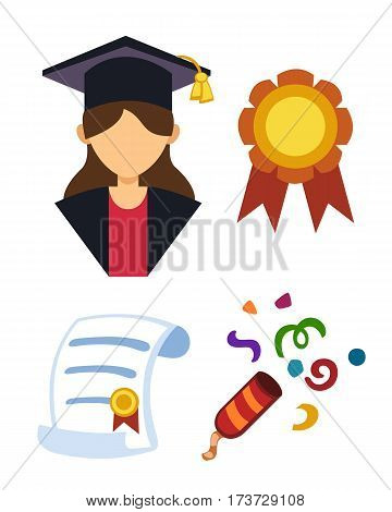 Graduation woman silhouette uniform avatar vector illustration. Student education college success character and diploma gown flat achievement. Certificate knowledge person.