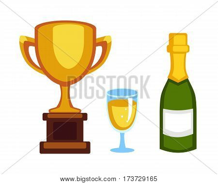Vector trophy champion cup and champagne bottle flat icon. Winner trophy award and victory prize. Sport success and best win golden leadership award competition.