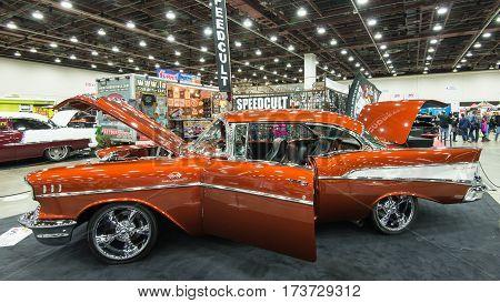 DETROIT MI/USA - February 25 2017: A 1957 Chevrolet Bel Air car interpretation on display at the Detroit Autorama, a showcase of custom and restored cars.