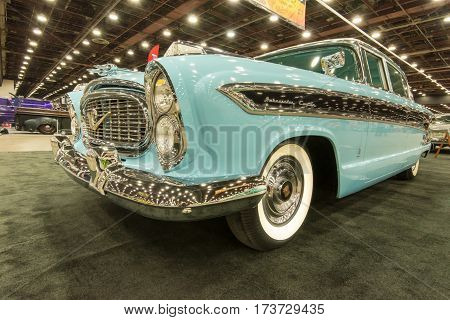 DETROIT MI/USA - February 25 2017: A 1958 Nash Ambassador Custom car restoration on display at the Detroit Autorama, a showcase of custom and restored cars.