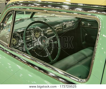 DETROIT MI/USA - February 25 2017: A 1953 Hudson Hornet car interior restoration on display at the Detroit Autorama, a showcase of custom and restored cars.