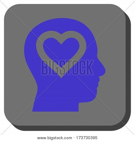 Love In Head interface button. Vector pictograph style is a flat symbol centered in a rounded square button, violet and gray colors.