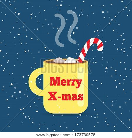 Merry Christmas yellow cup with handle. Striped red-white bent straw. Hot drink inside. Steam. Pieces of sugar. Illustration of isolated teacup with red inscription. Flat style. Cartoon design. Vector