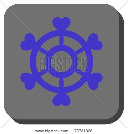 Lovely Boat Steering Wheel interface icon. Vector pictograph style is a flat symbol in a rounded square button, violet and gray colors.