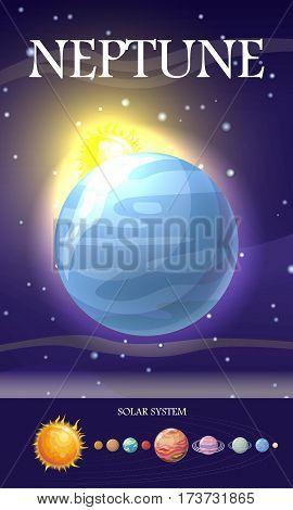 Planet Neptune in solar system. Solar system with stars, Sun, Pluto, Neptune, Uranus, Venus, Mercury, Saturn, Jupiter, Mars, Earth and Moon on orbit. Planets in orbit around the sun. Set of planets