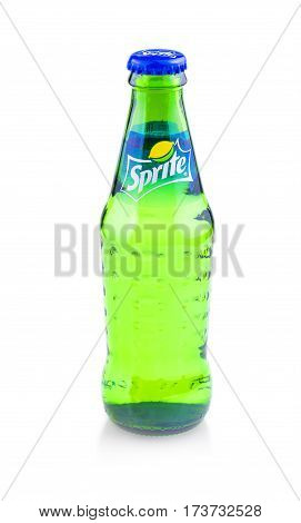 Chisinau Moldova February 28 2017: Sprite glass bottle isolated on white background