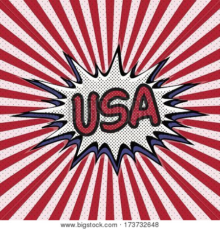 Declaration of USA pop art, Comic Speech Bubble. USA cartoon explosion. Falling in USA. Vector
