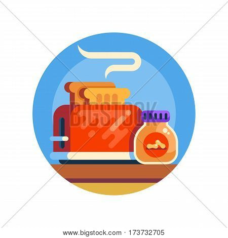 Retro toaster and jar of penaut butter. Traditional american breakfast. Vector icon. Cool flat style cartoon illustration.