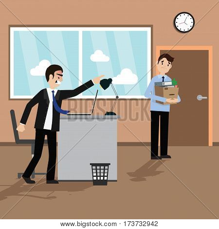 Angry boss fired worker. Office retire illustration.