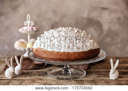 Tasty Easter cake on glass stand