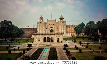 Frontal view of Shahi Qila the Lahore Fort, Pakistan.