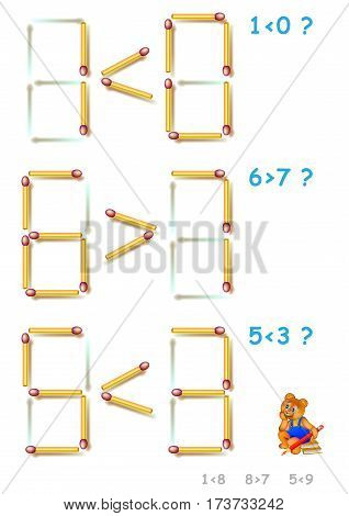 Logic puzzle. In each task add 1 matchstick to make the inequalities correct. Vector image.