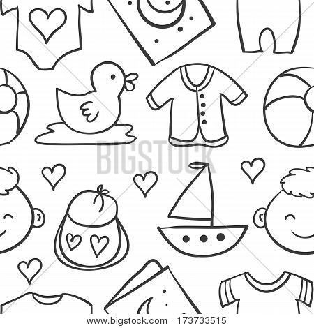 Doodle of element baby stock vector illustration