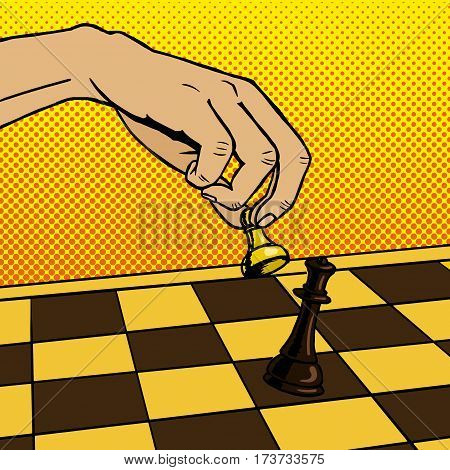 Hand playing chess pop art hand drawn vector illustration. Pawn strikes queen