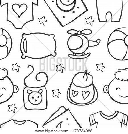 Illustration of baby element doodles collection stock