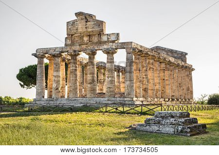Ancient Temple At Famous Paestum Archaeological Unesco World Heritage Site, Which Contains Some Of T