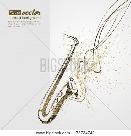 Simplified vector illustration - Music. Notes lines saxophone.