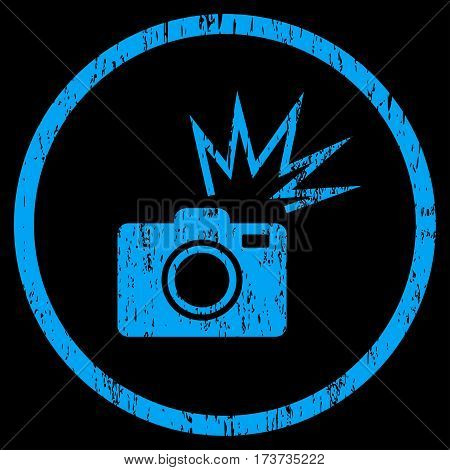 Camera Flash grainy textured icon for overlay watermark stamps. Rounded flat vector symbol with scratched texture. Circled blue ink rubber seal stamp with grunge design on a black background.