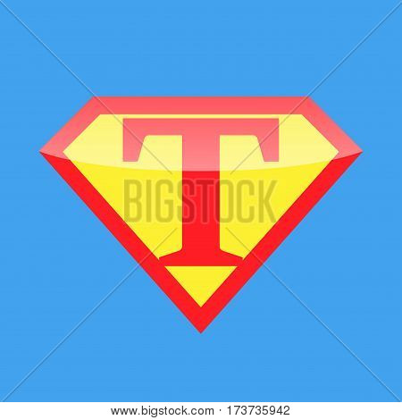 Superhero logo with the letter T. Vector illustration