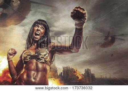 Female warrior attacking a hand in battle