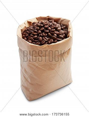 coffee beans in paper bag isolated on white