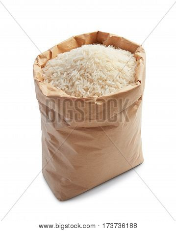 white rice in paper bag isolated on white